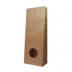Пакет крафт / полоска двухслойный с окном 40 мм, ламинация по кругу