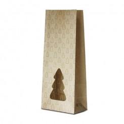 Пакет крафт / полоска с прозрачным окном «елка»